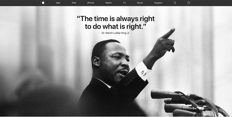 Apple、今年も「Martin Luther King Jr. Day」に合わせてトップページを特別仕様に