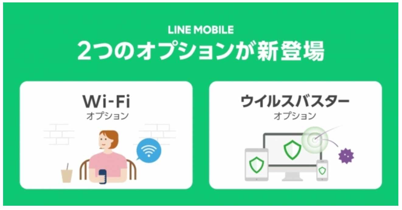 LINEモバイル、「Wi-Fiオプション」「ウイルスバスターオプション」の提供を開始 ― 最大3ヶ月無料キャンペーンも