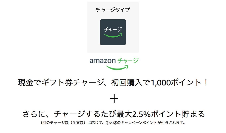 Amazonギフト、5,000円以上の現金チャージで1,000ポイントがもらえるキャンペーン実施中【初回限定】
