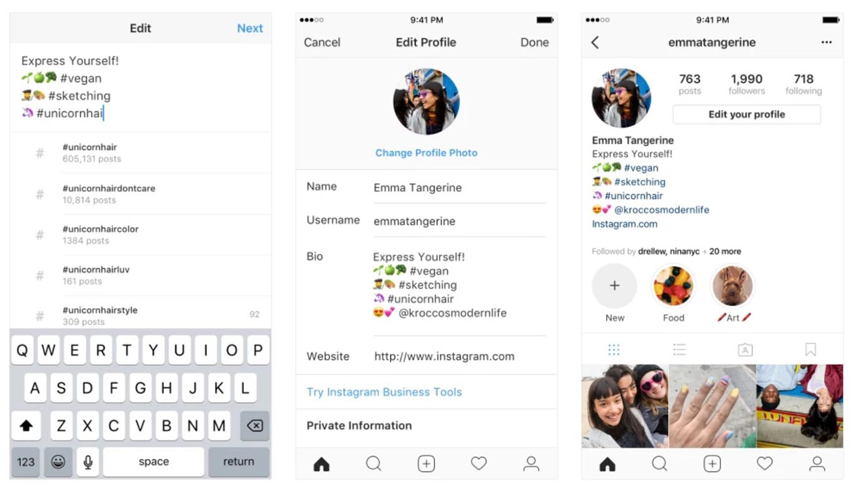 Instagram、プロフィールにハッシュタグとプロフィールリンクを追加可能に