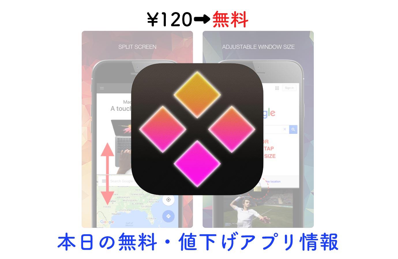 120円→無料、便利な2画面ブラウザアプリ「halfes」など【4/15】セールアプリ情報