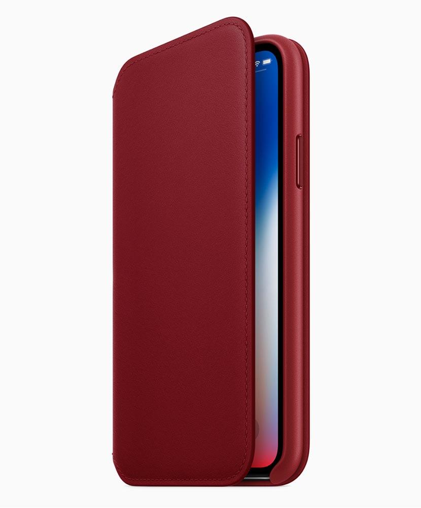 Apple、「(PRODUCT)RED iPhone Xレザーフォリオ」の販売を開始