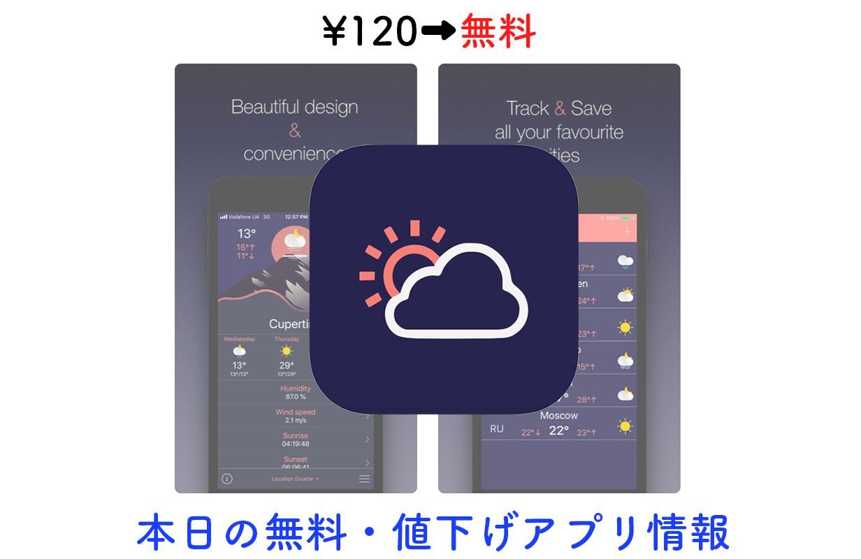 480円→無料、マテリアルデザインの天気アプリ「Material Weather」など【11/12】セールアプリ情報