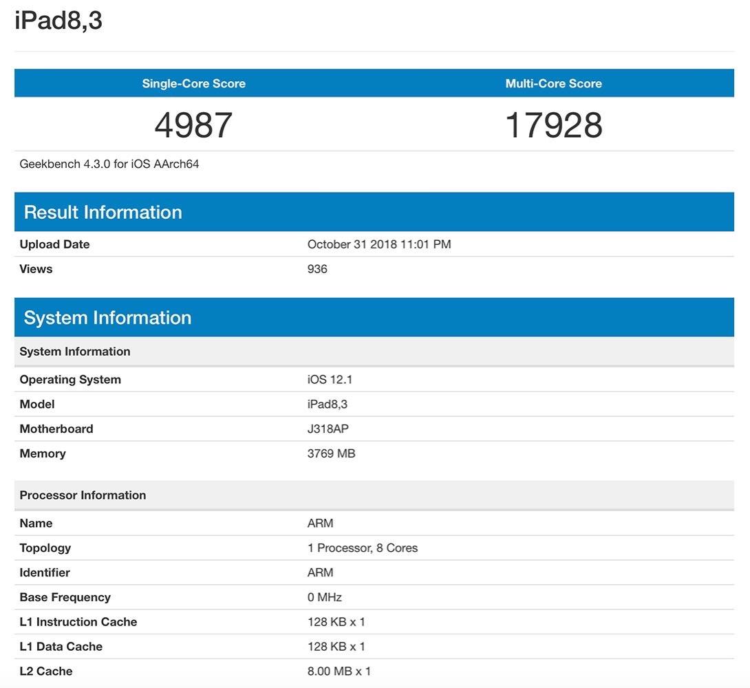 GeekBenchに新型「iPad Pro」に搭載されている「A12X Bionic」のベンチマークスコアが登場!?