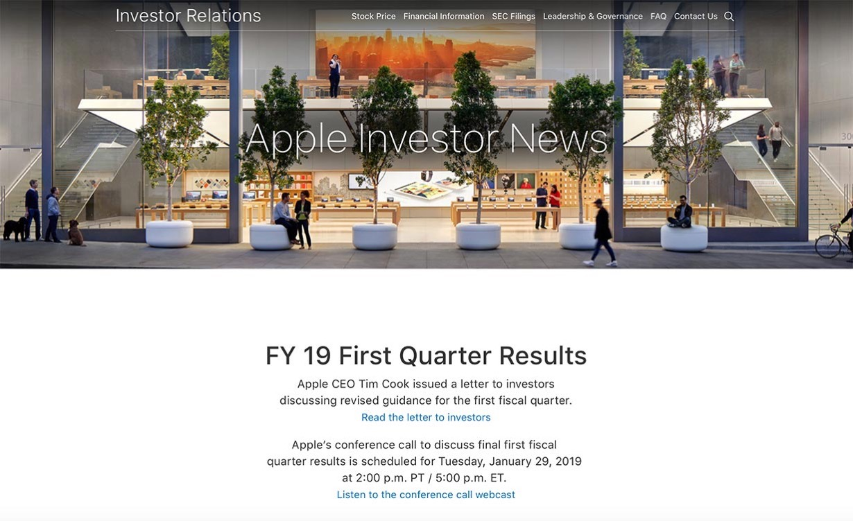 Apple、2019年第1四半期の決算発表を1月29日に発表 ー 売上高予想は下方修正