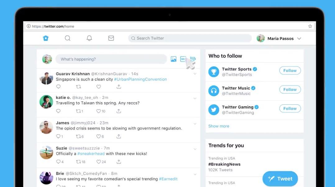 Twitter、一部のユーザーにWeb版の新しいインターフェイスの提供を開始