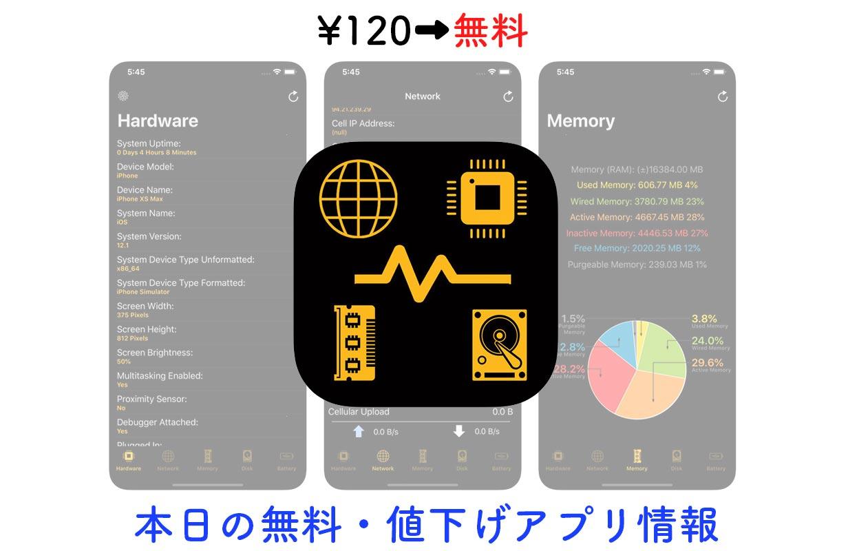 120円→無料、デバイスの様々な情報がわかる「Device System Services」など【3/13】セールアプリ情報