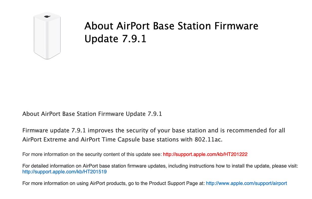 Apple、「AirMacベースステーション ファームウェア・アップデート 7.9.1」リリース