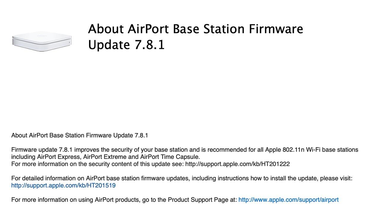 Apple、「AirMacベースステーション ファームウェア・アップデート 7.8.1」リリース