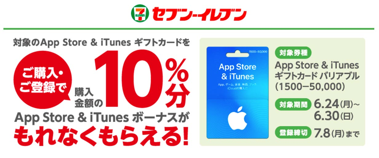 コンビニ各社で「App Store & iTunes ギフトカード バリアブル」購入・応募で10%分のボーナスコードがもらえるキャンペーン開催中(6/30まで)