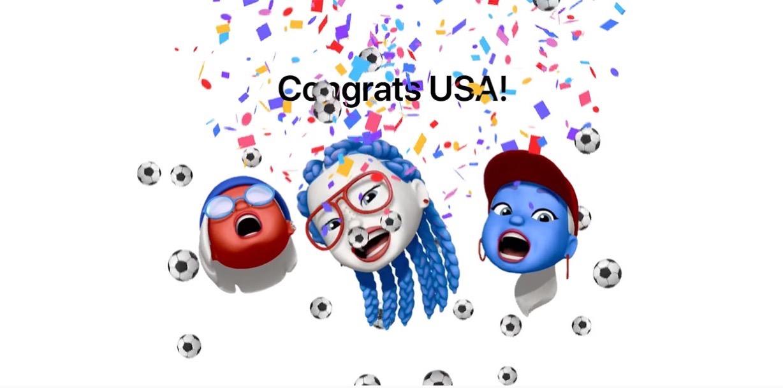 Apple、FIFA女子ワールドカップでアメリカが優勝したことをミー文字でお祝い