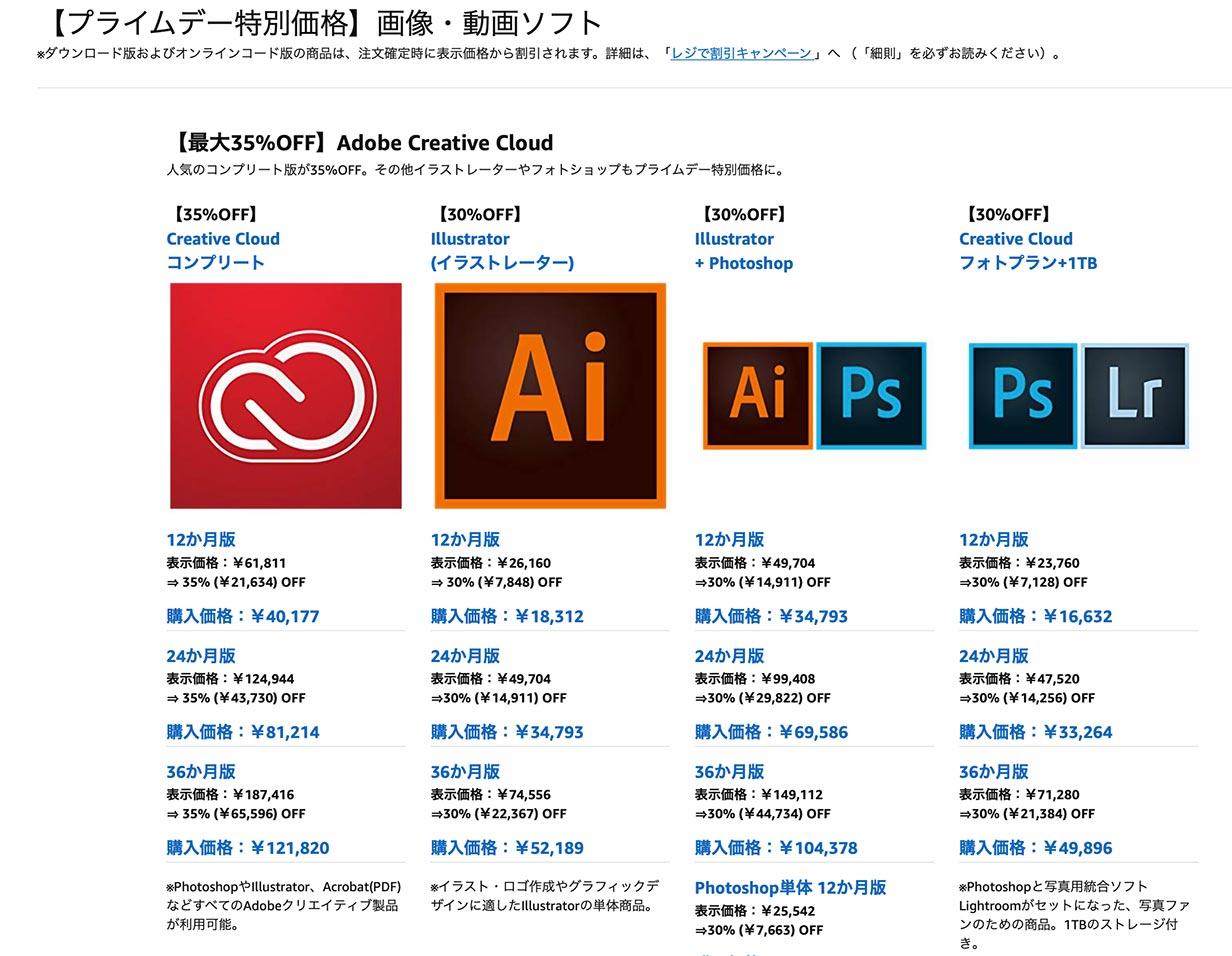 【プライムデー】Adobe、「Adobe Creative Cloud」などを最大35%オフで販売中(7/16まで)