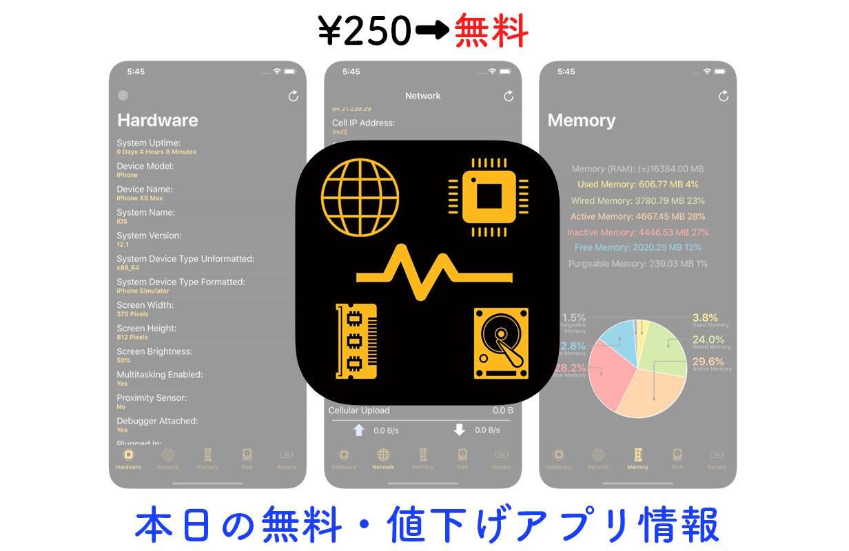 250円→無料、デバイスの様々な情報がわかるアプリ「Device System Services」など【7/11】セールアプリ情報