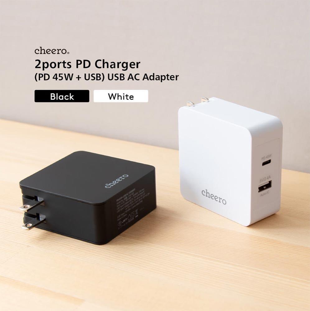 cheero、PD対応2ポートアダプタ「cheero 2 port PD Charger (PD 45W + USB)」の販売を開始