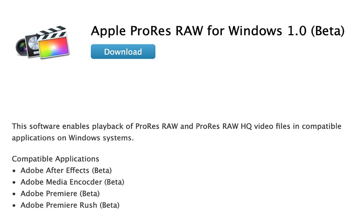 Apple、「Apple ProRes RAW for Windows 1.0 (Beta)」をリリース