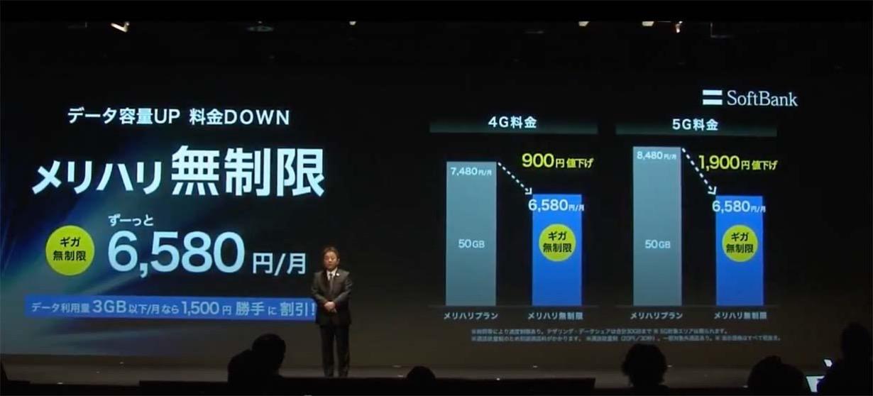 ソフトバンク、月額6,580円データ容量無制限の4G/5G共通の料金サービス「メリハリ無制限」を発表