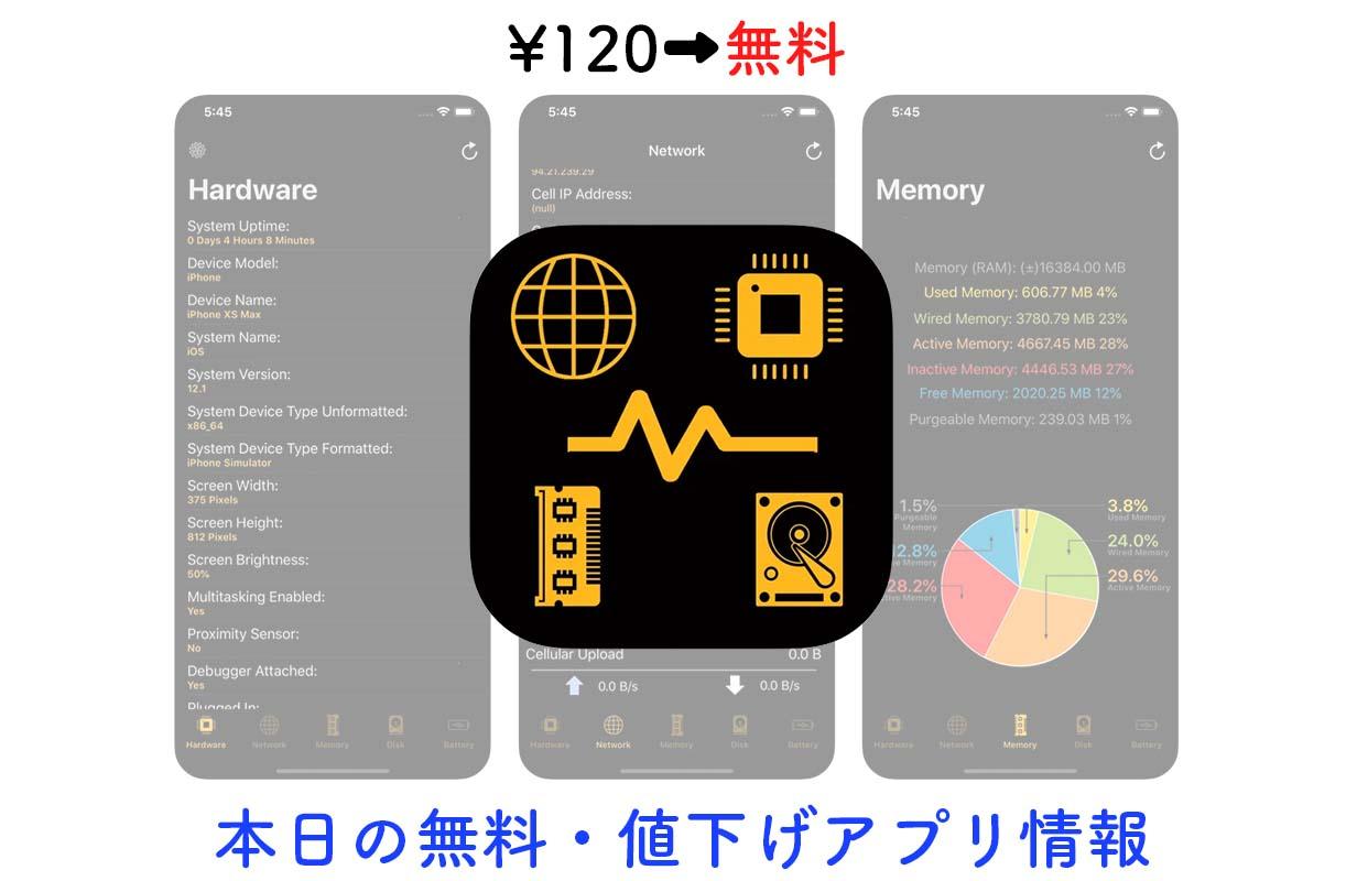 120円→無料、デバイスの様々な情報がわかるアプリ「Device System Services」など【1/25】セールアプリ情報